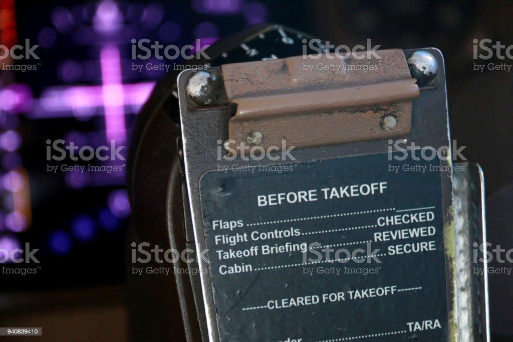 Closeup Of The Inflight Checklist On A 747 Flight Deck Stock Photo