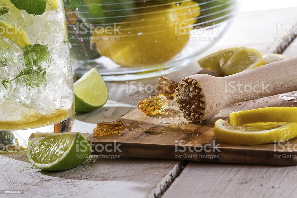 Closeup of the ingredients cold citrus drink royalty-free stock photo