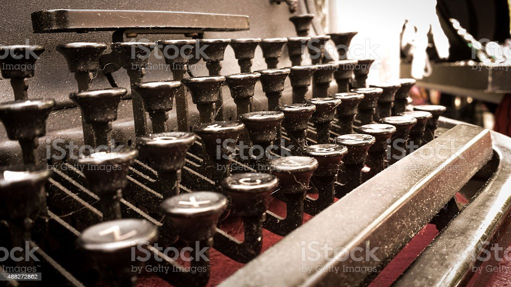 Closeup of the Keys of a Dusty Old Typewriter stock photo