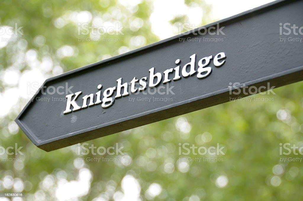 Close-up of the Knightsbridge street sign stock photo