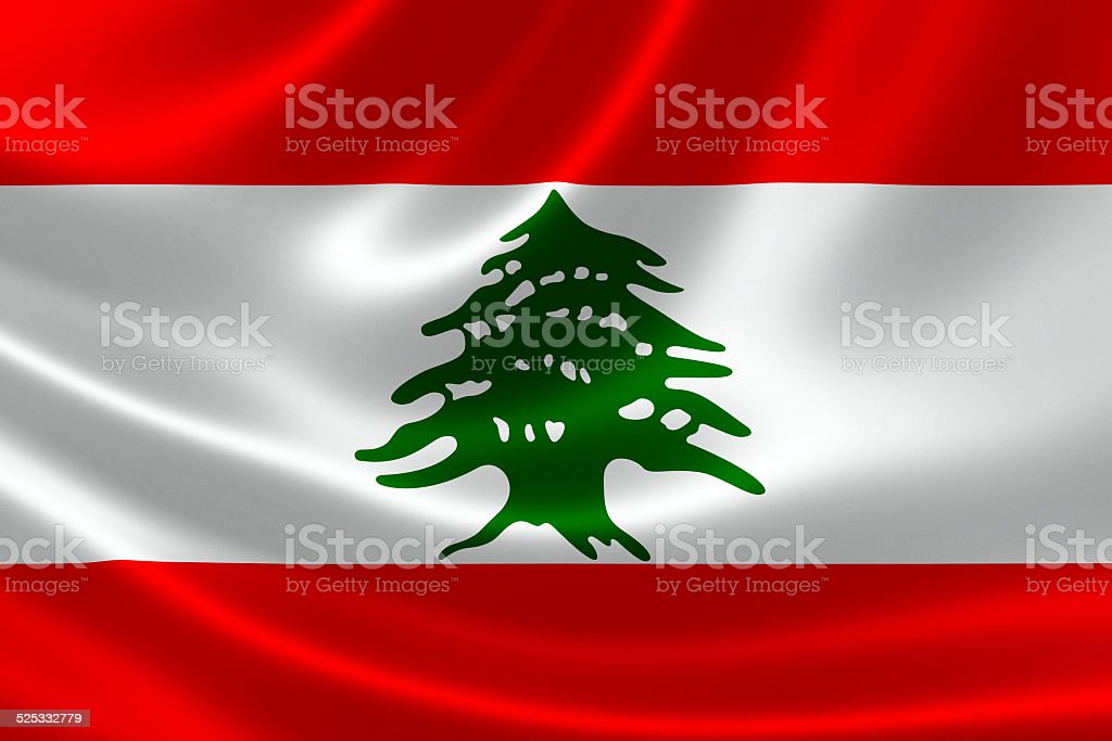 Close-up of the Lebanese Republic's Flag stock photo