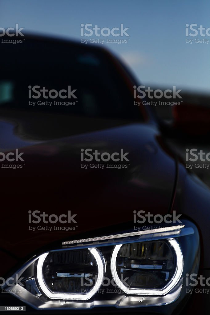 Close-up of the LED lighting of a cars headlights  stock photo