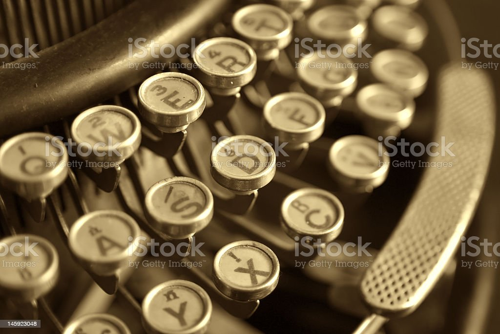 Close-up of the left side of an antique typewriter royalty-free stock photo