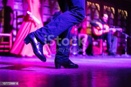 Closeup of the legs and red shoes of a flamenko dancer whilst she's dancing on the stage in Palma de Mallorca, Spain