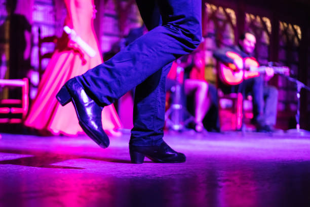 Closeup of the legs of a flamenko dancer stock photo