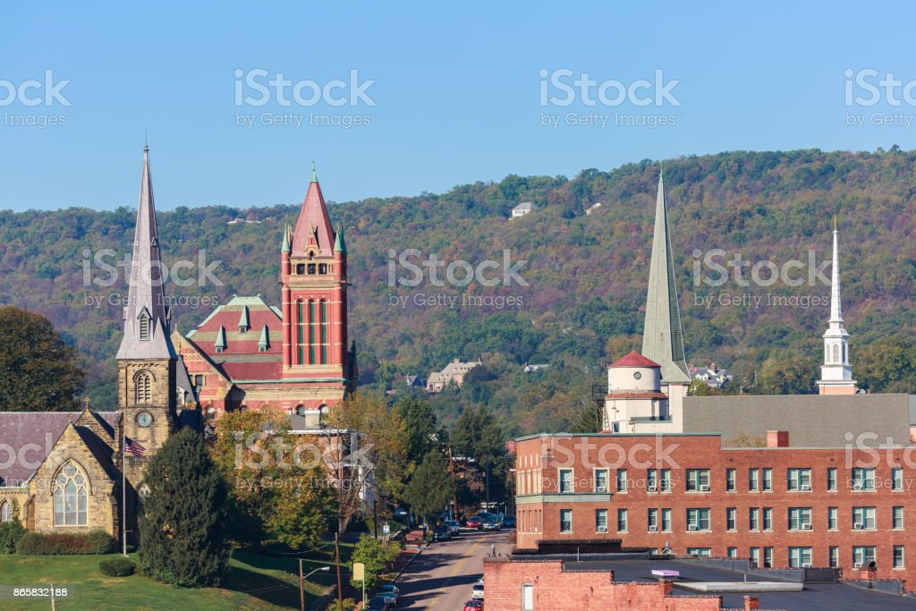 Closeup Of The Many Church Steeples In Cumberland Maryland stock photo