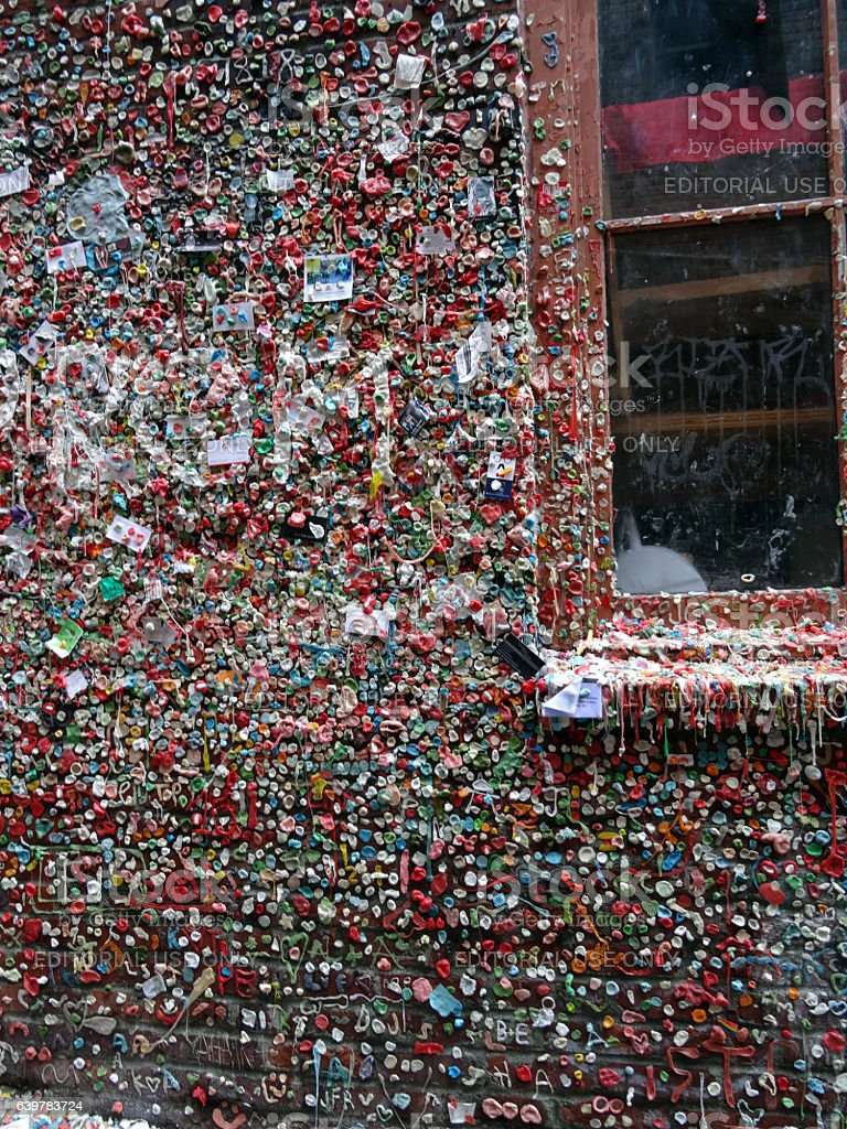 Close-up of The Market Theater Gum Wall and window stock photo