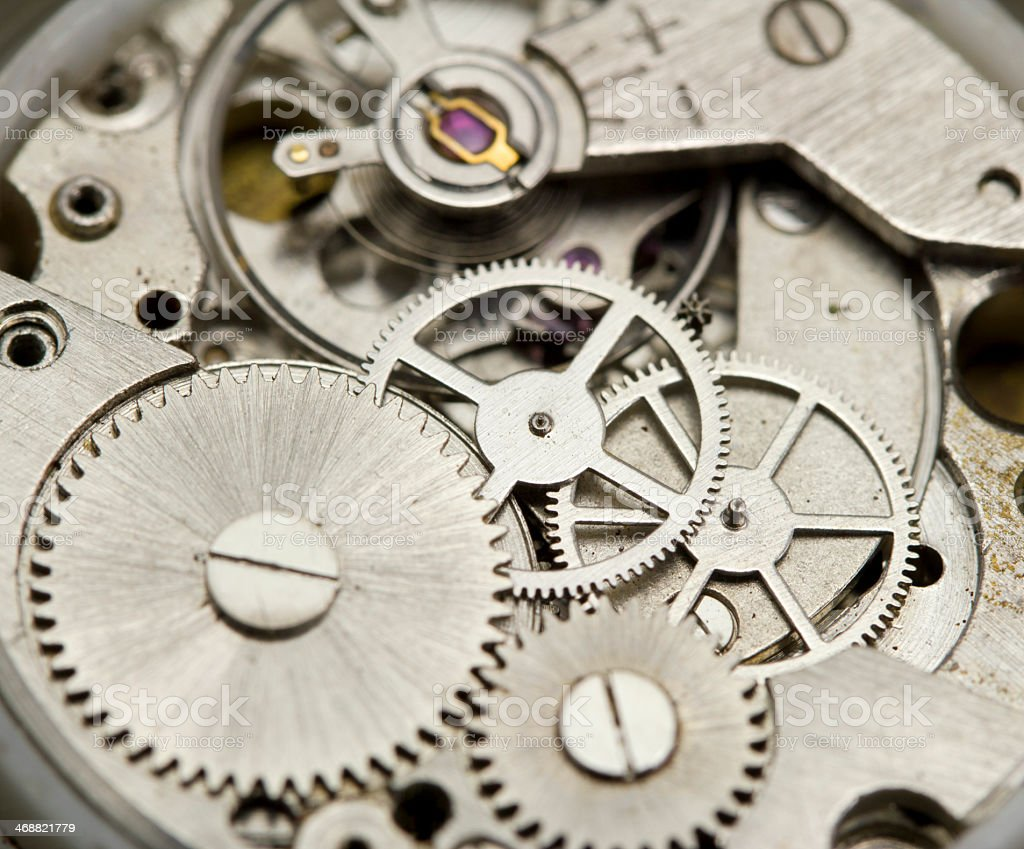 Close-up of the metal parts in the inside of a clock stock photo