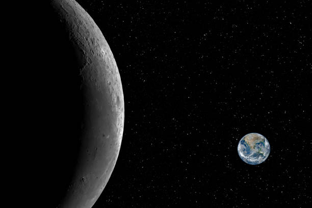 Closeup of the Moon and the small planet Earth against starry night sky background, elements of this image furnished by NASA stock photo