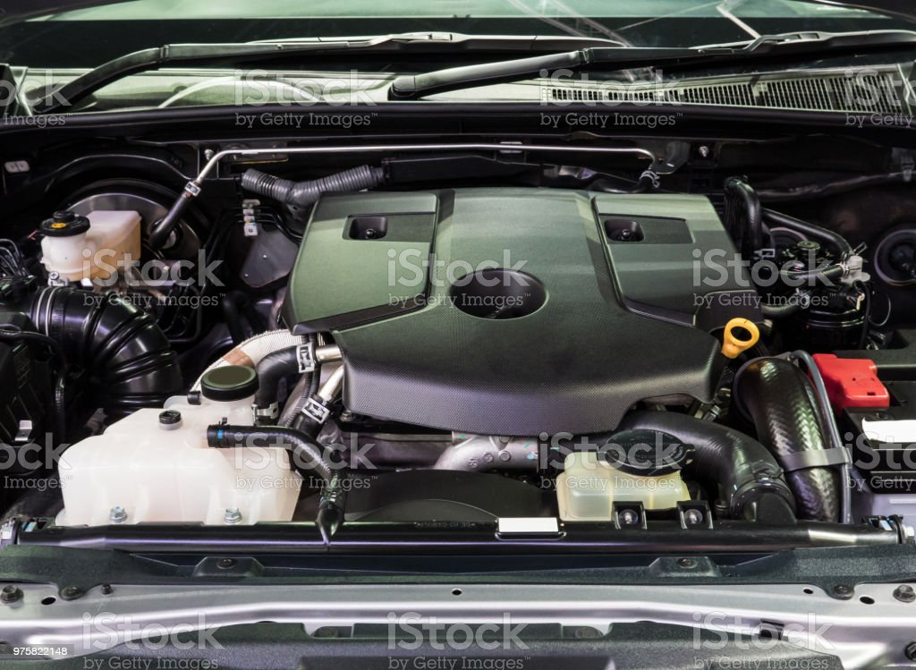 Closeup of the new engine in the modern diesel car. stock photo