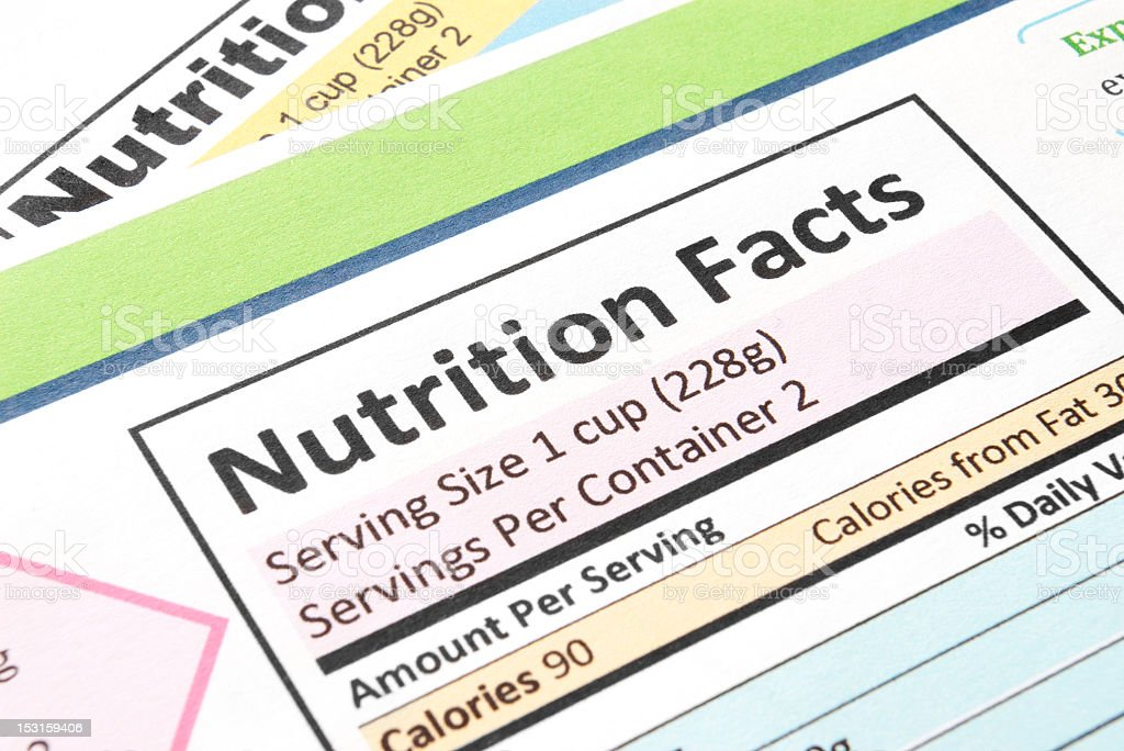 Close-up of the nutrition facts section stock photo