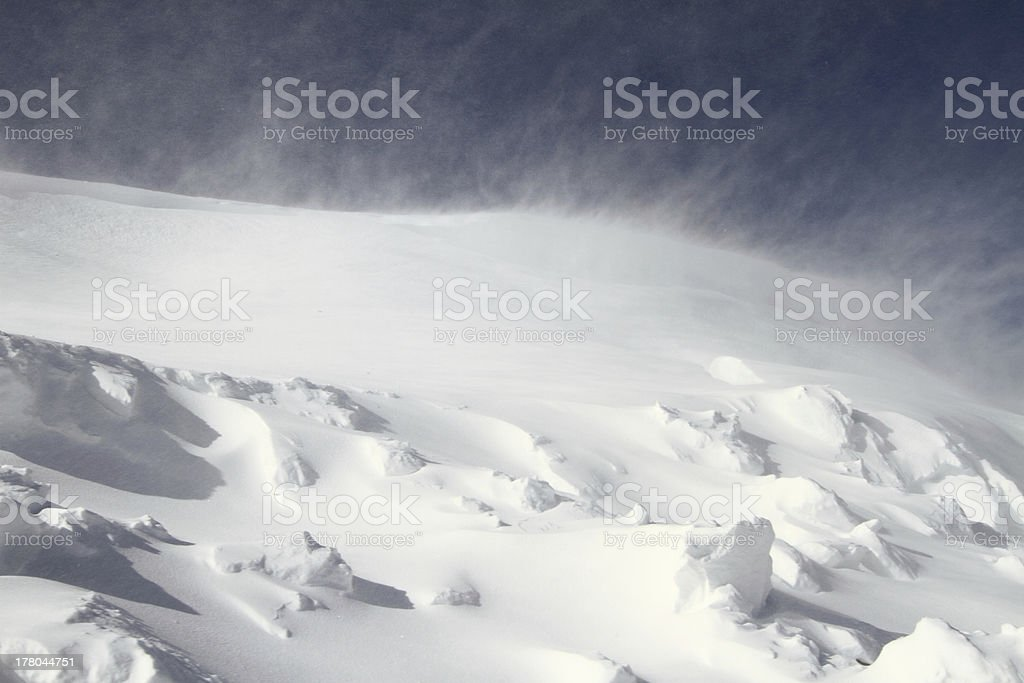Close-up of the outside in a snowstorm stock photo