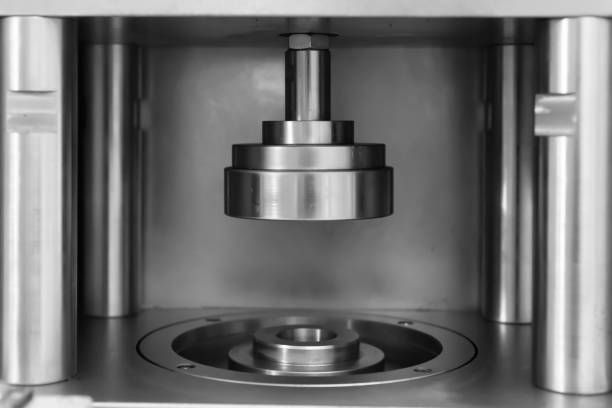 Close-up of the pressure equipment on the production line stock photo