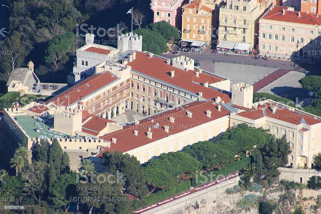 Close-up of the Prince's Palace in Monaco (Aerial View) stock photo