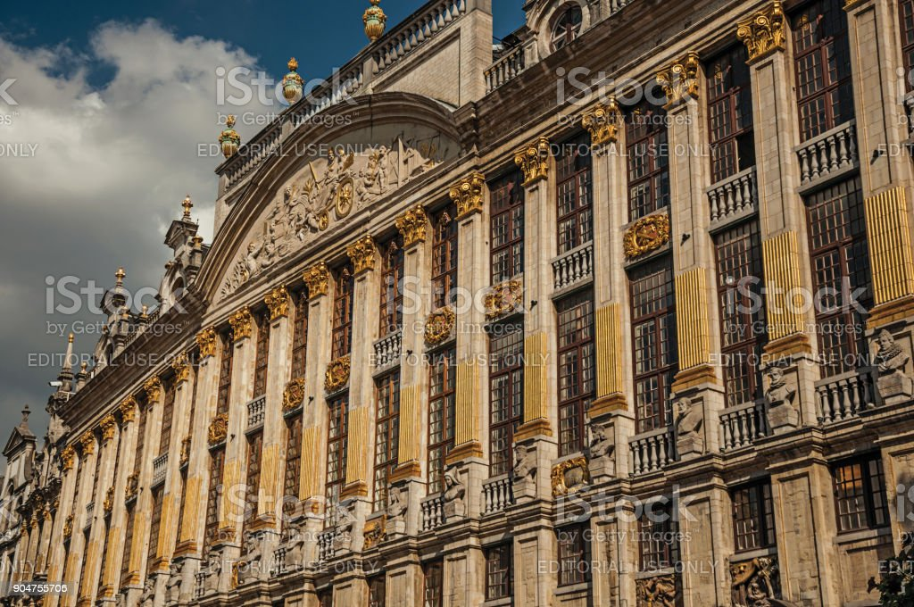 Close-up of the rich and elegant decoration on the historic buildings at Grand Place of Brussels. stock photo