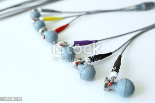 istock close-up of the sensor electrode ECG machine 1164167268