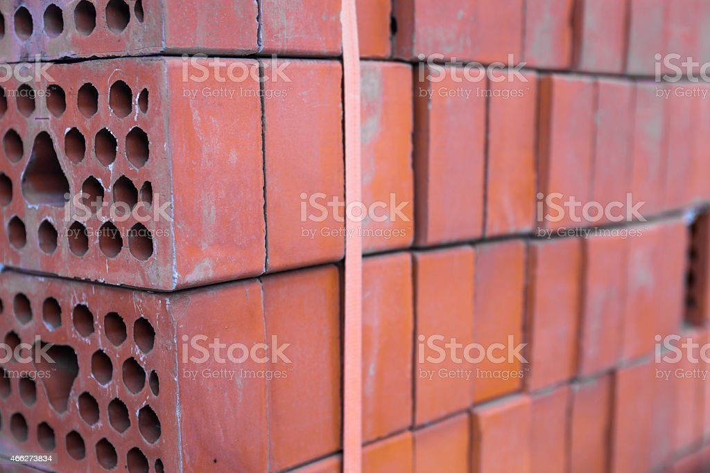 Close-up of the silicate bricks stack stock photo