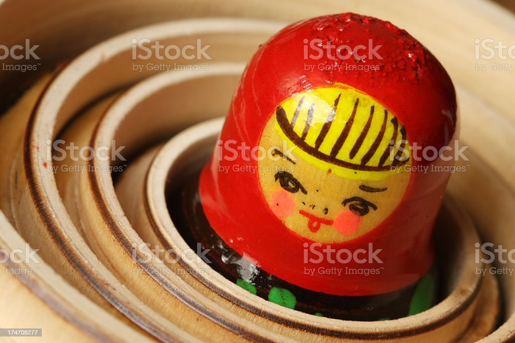 A close-up of the smallest Matryoshka Doll royalty-free stock photo