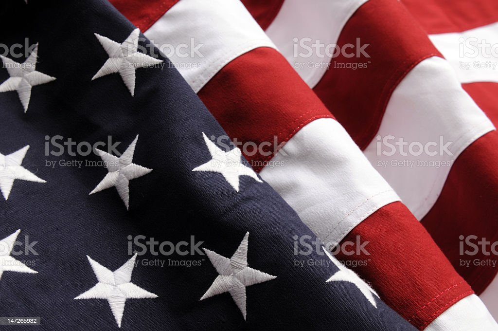 Close-up of the stars and stripes of an American flag royalty-free stock photo
