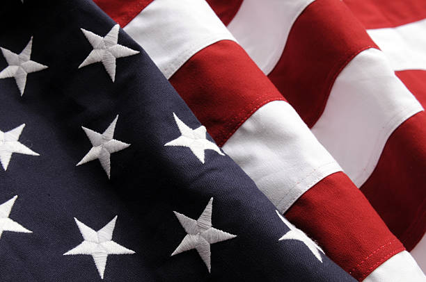 Close-up of the stars and stripes of an American flag stock photo