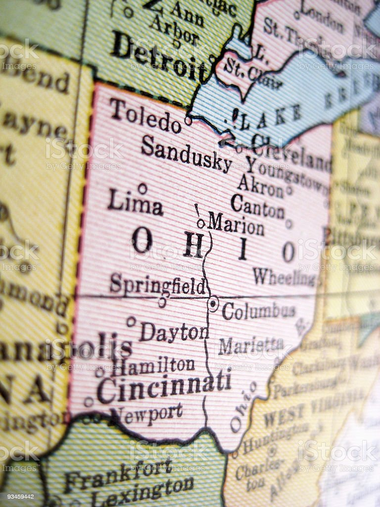 Close-up of the state of Ohio on a map stock photo