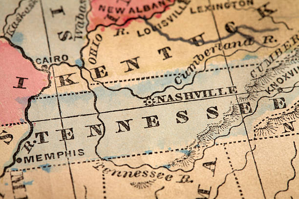 close-up of the state of tennessee on a map - tennessee map stock photos and pictures