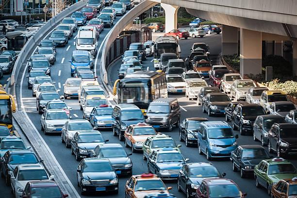 closeup of the steam of traffic jam – Foto