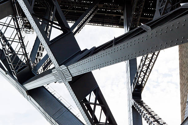 Closeup of the steel framework of the Harbor bridge Low angle view of steel structure and beams under Harbour bridge Sydney Australia, full frame horizontal composition girder stock pictures, royalty-free photos & images