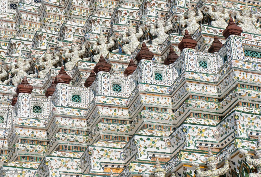 Closeup of the symmetrical decorations of Wat Arun stock photo