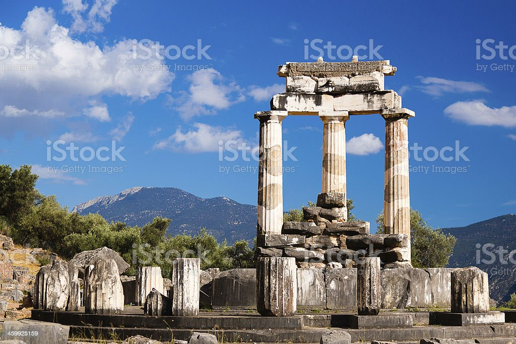Close-up of the Tholos of Delphi in Greece stock photo