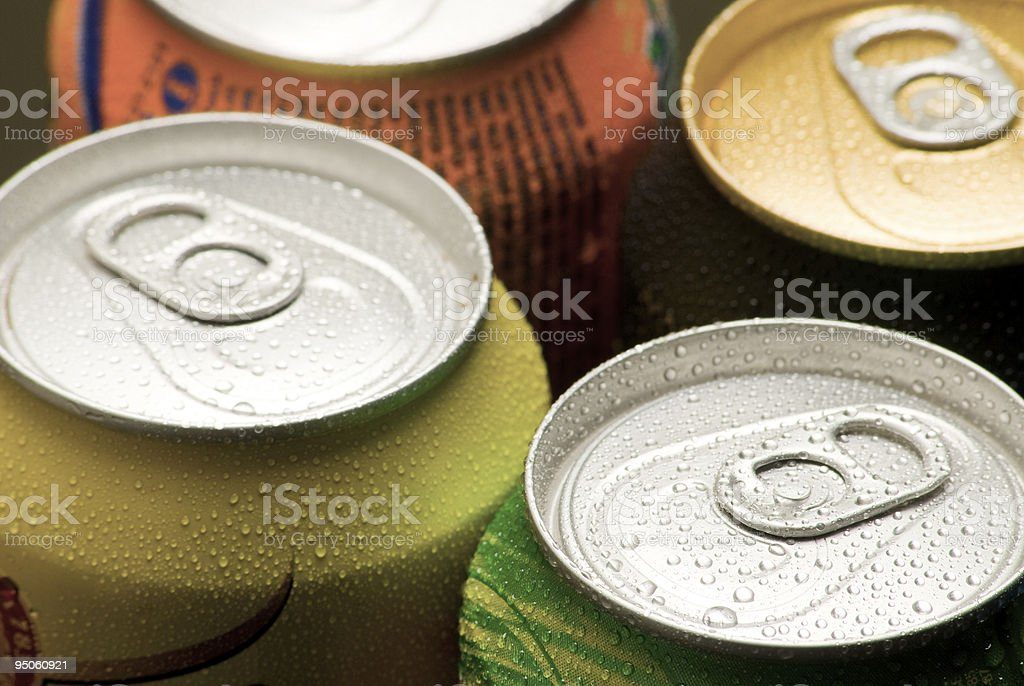 Close-up of the tops of soft drink cans stock photo