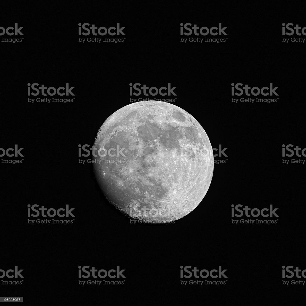 Close-up of the waxing gibbous moon (95%  full) royalty-free stock photo