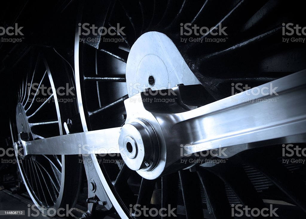 Close-up of the wheels of a steam railway engine stock photo
