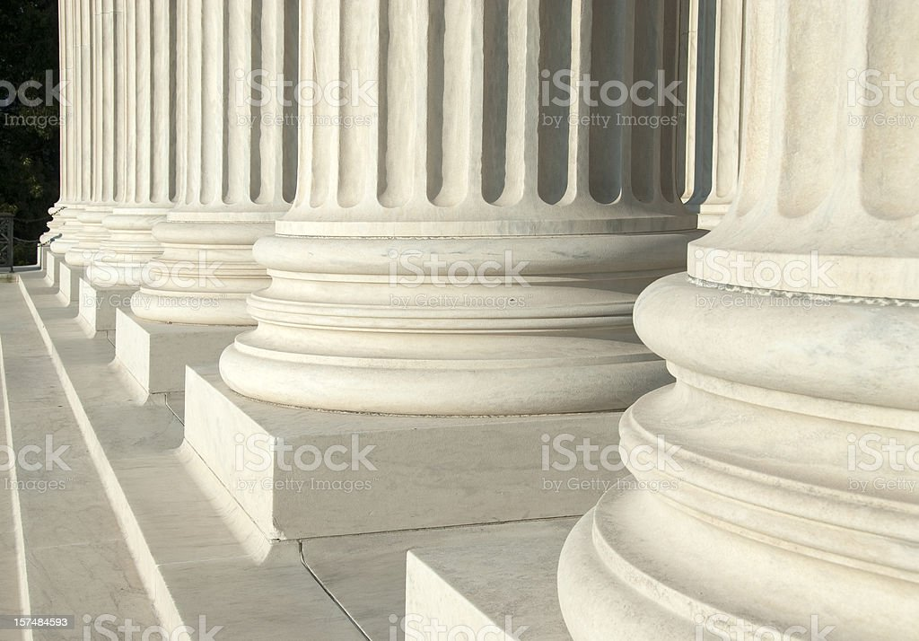 Close-up of the white columns at the U.S. Supreme Court stock photo