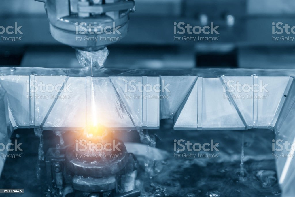 Close-up of the wire - EDM CNC machine royalty-free stock photo