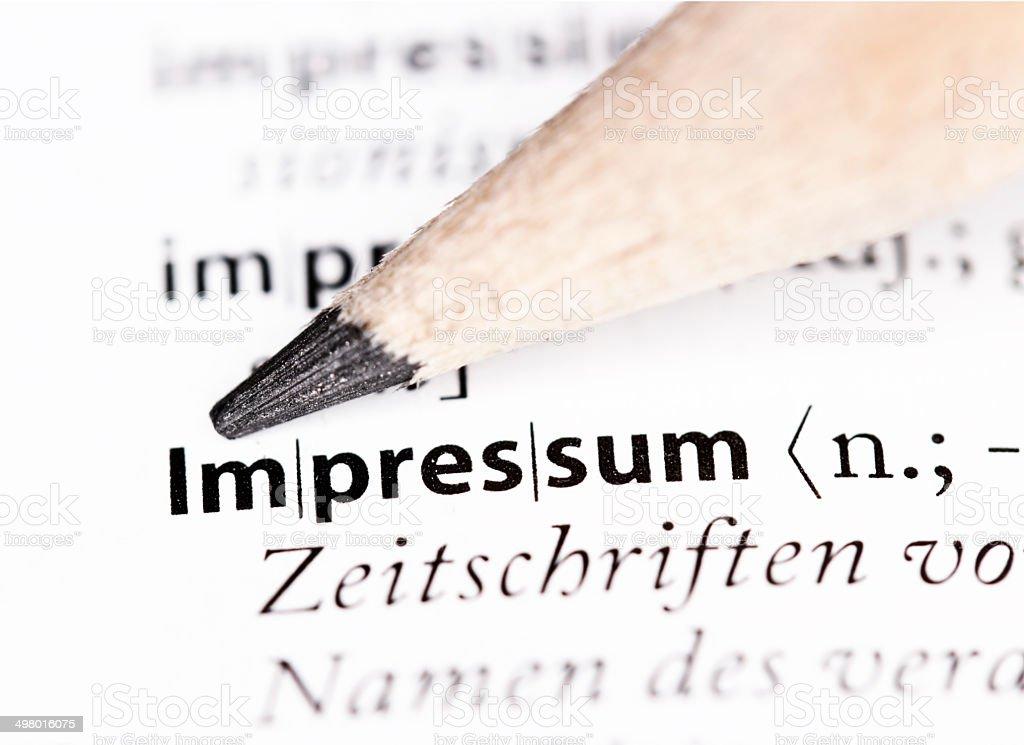 Nahaufnahme des Wortes impressum in einem Wörterbuch - Lizenzfrei Bleistift Stock-Foto