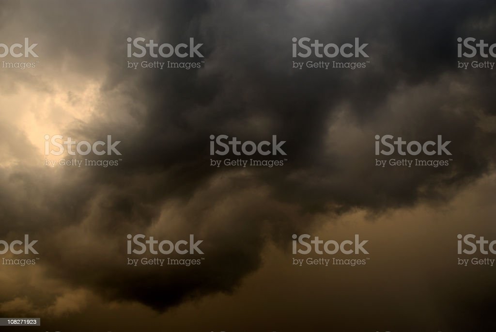 Close-up of thick clouds forming a storm at dusk royalty-free stock photo