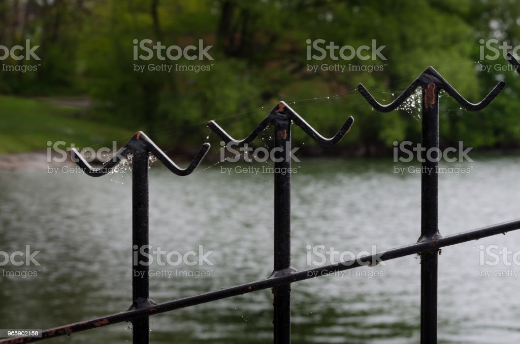 Closeup of three metal fence finials with an angled crossbar covered in sunlit spider webs  and out of focus watery background. - Royalty-free Architecture Stock Photo