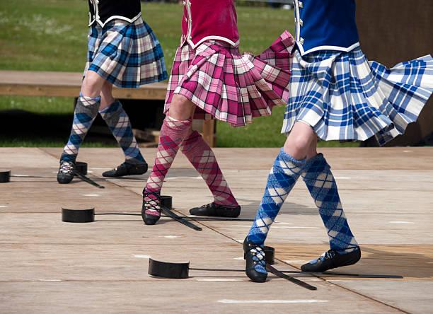 Closeup of three pairs of feet of women Scottish sword dancing stock photo