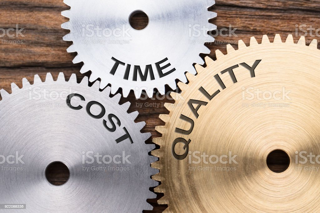 Closeup Of Time  Cost And Quality Interlocked Cogwheels stock photo