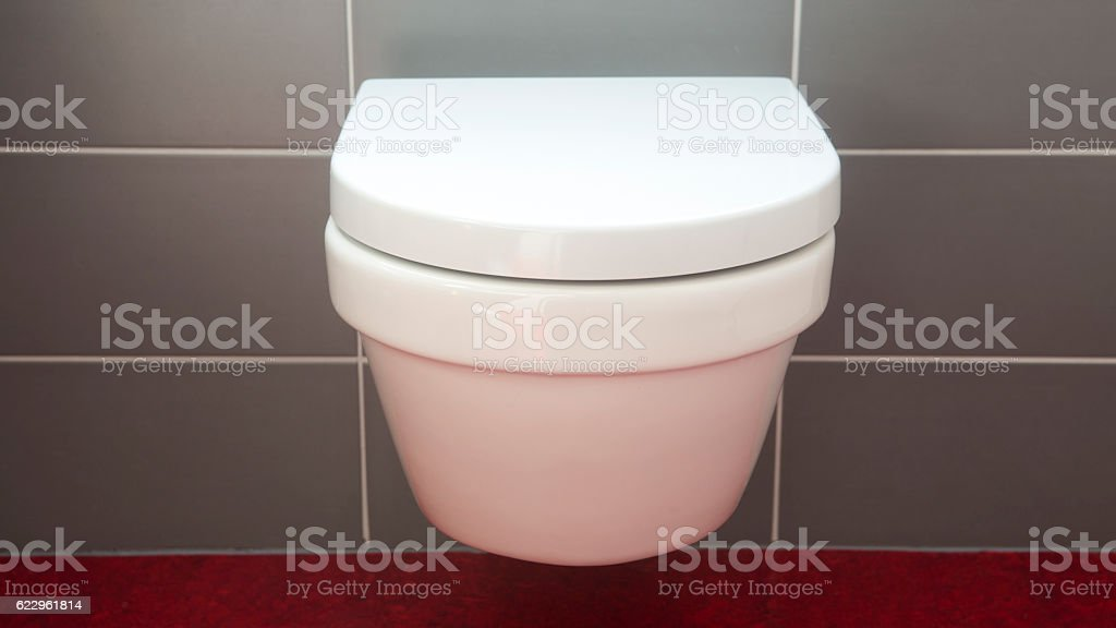 closeup of toilet bowl and closed lid cover – Foto