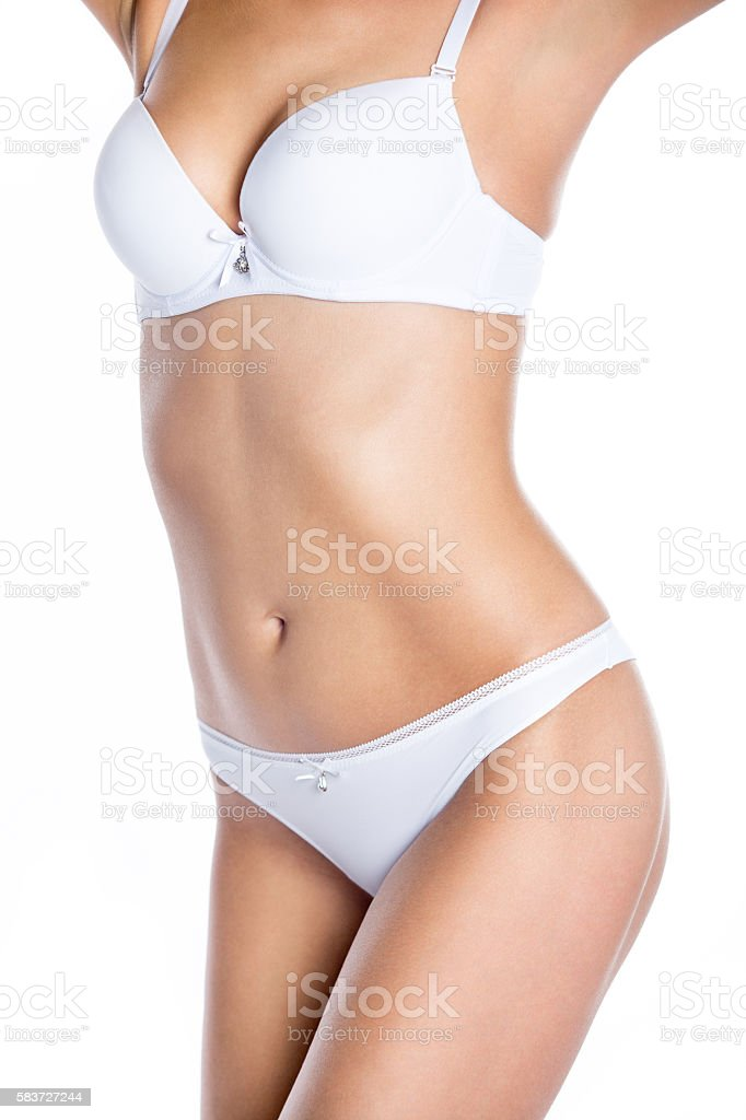 a33576afcdb Close-up of torso of beautiful girl in white underwear - Stock image .