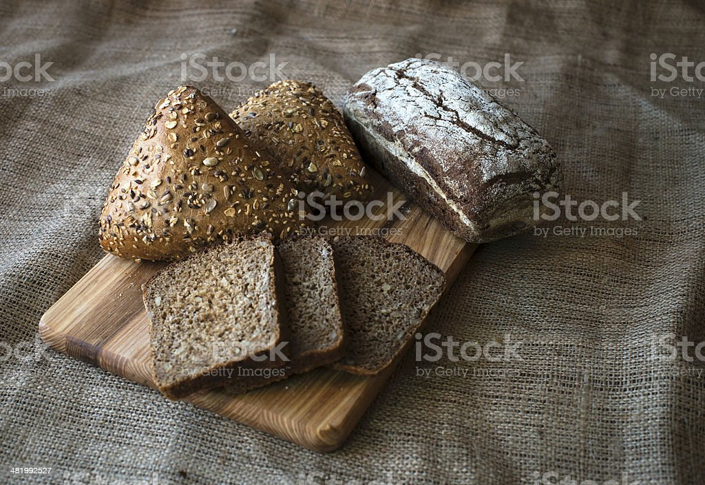 Close-up of traditional bread. Healthy food. stock photo