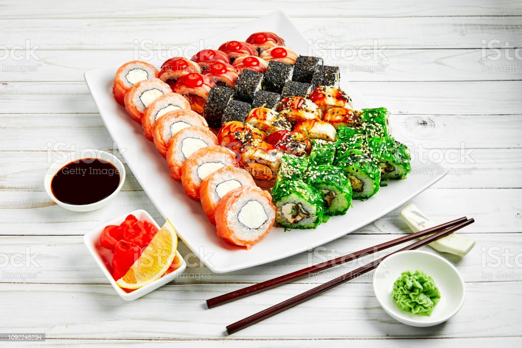 Closeup Of Traditional Japanese Sushi Set With Salmon And
