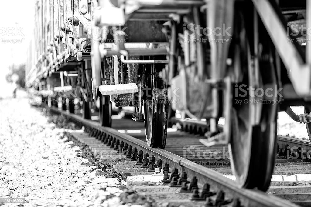 Closeup of train wheels stock photo