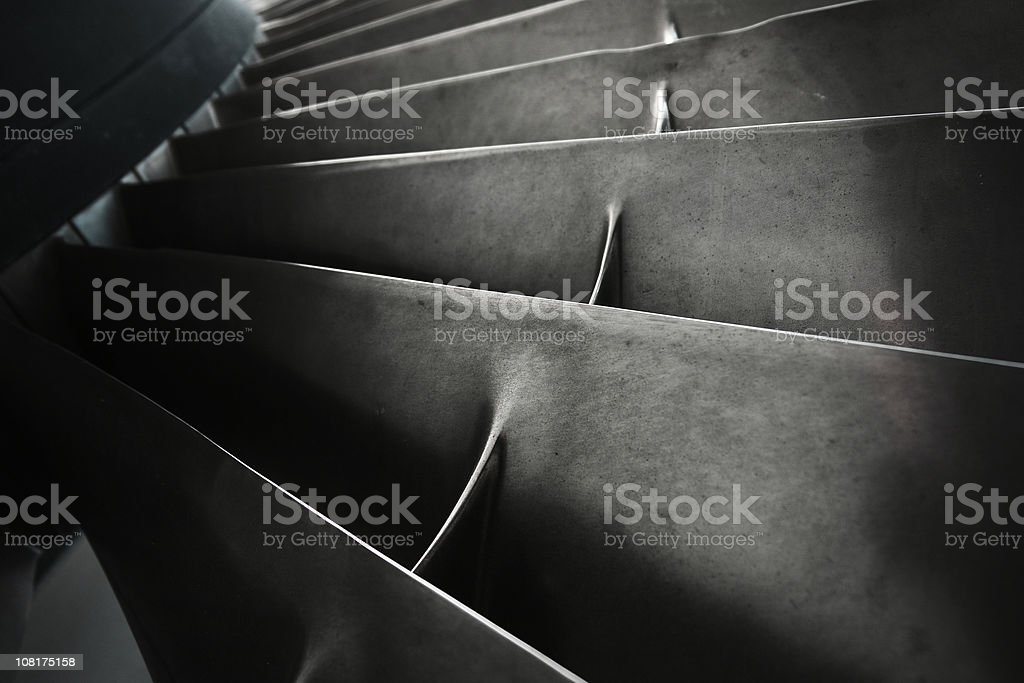 Close-up of Turbine Fan Blades stock photo