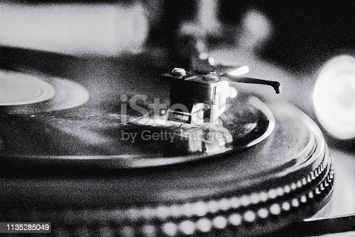 Close-Up Of Turntable. Black&White. Add grain