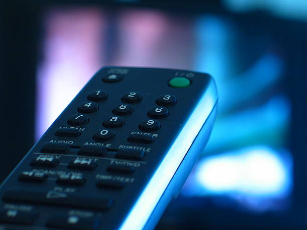 Close-up of TV remote control buttons stock photo
