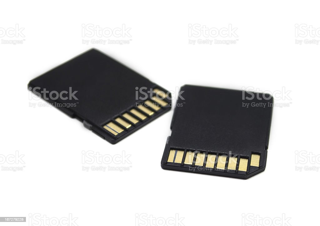 Close-up of two black memory cards on a white background stock photo