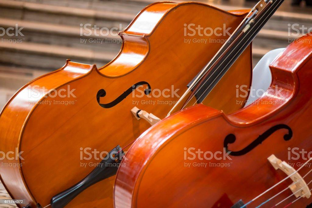 Close-up of two cello. violoncello. stock photo